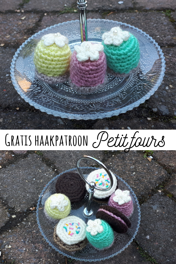 gratis haak patroon petit fours play food